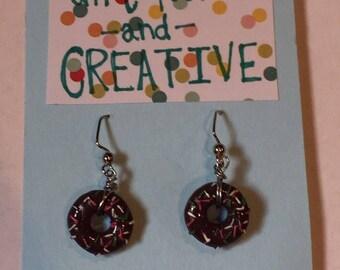 Donut Earrings- Chocolate with Sprinkles