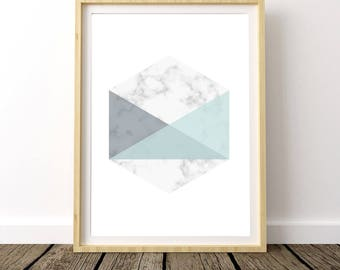 Marble Decor Print, Modern Marble Print, Scandinavian Modern, Hexagon Poster, Marble Wall Decor, Marble Wall Print, Geometric Posters