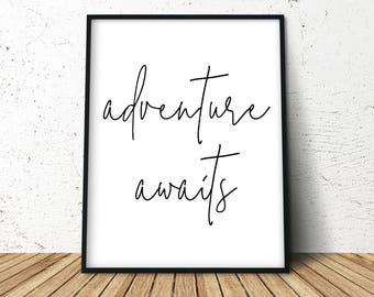 Adventure Awaits, Digital Wall Poster, Adventure Art Poster, Extra Large Wall Art, Travel Posters, Nature Lover Gift, Gift For Traveller