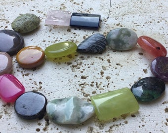 Mixed Stone assortment - Puff Oval, Rectangle Combo