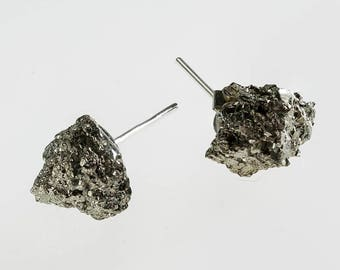 raw pyrite gemstone earrings