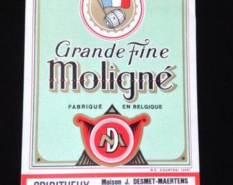 Vintage 1950's liquor label Grande Fine Moligné.  Fabrique en Belgique