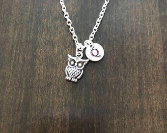 owl necklace ,Jewelry, Silver Jewelry, owl jewelry, NC1