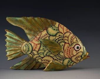 Indonesian Fish Sculpture Wood Painted