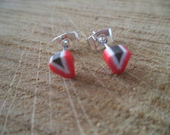 Earrings Silver earrings with Fimo Strawberry