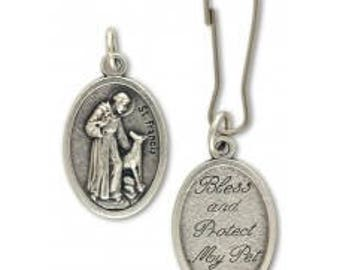 St. Francis of Assissi, Pet Collar Charm | Pet Blessing and Protection Medal - Bless and Protect My Pet