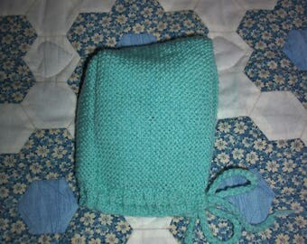 Hat bonnet baby 0 / 3-6 months or reborn - hand knitted in turquoise baby wool.