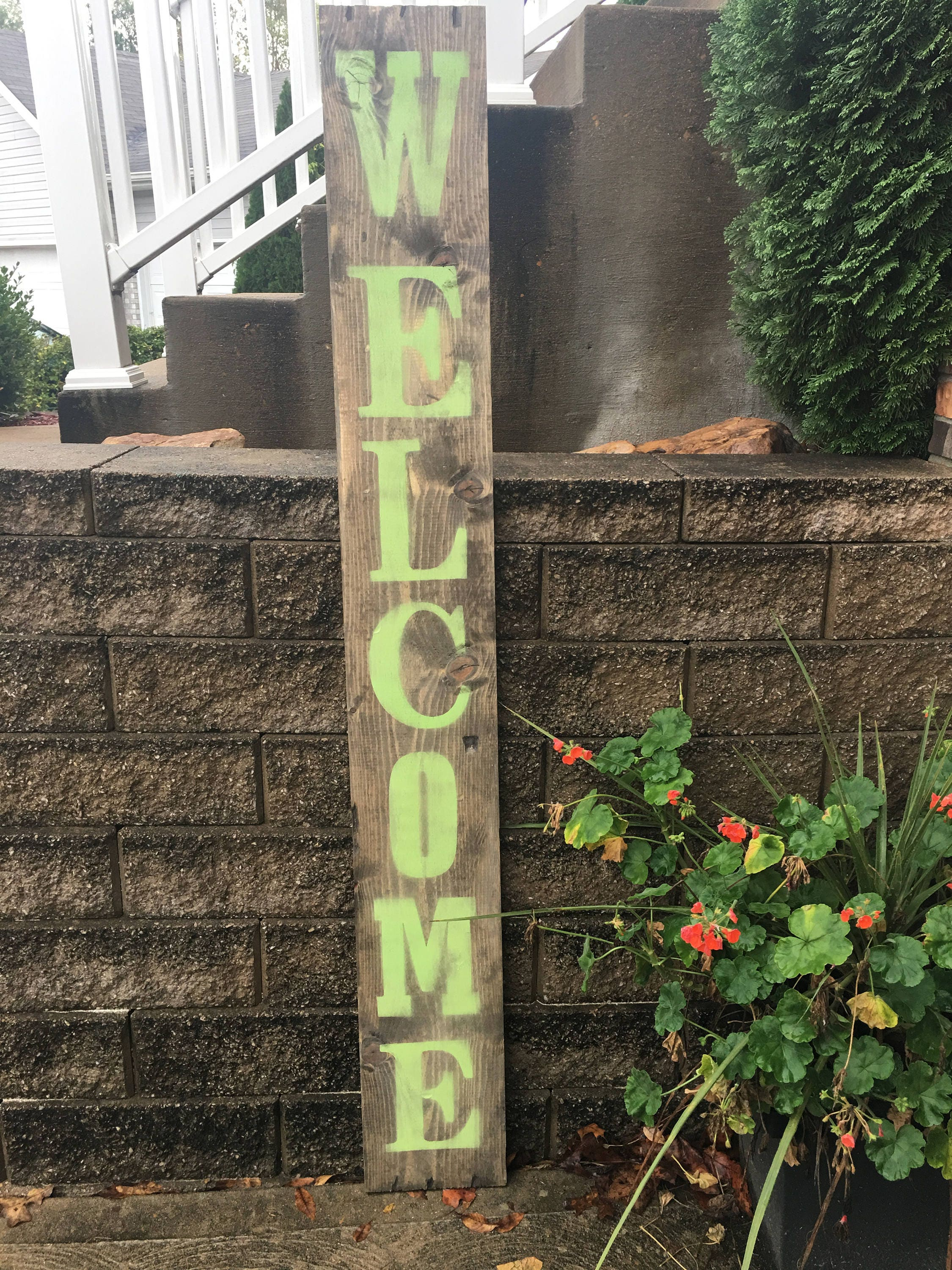 Wooden outdoor welcome sign Rustic wooden welcome sign