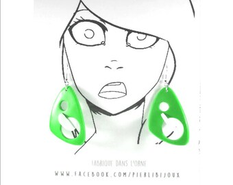 Earrings green and white 3D