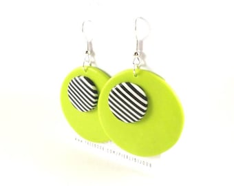 Black and white stripes and lime green earrings