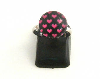 Child's black glass heart cabochon rose ring (ba108)