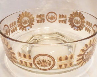 Signed 1960's Georges Briard Stylized Floral & Crown Serving Bowl Hexagon Base