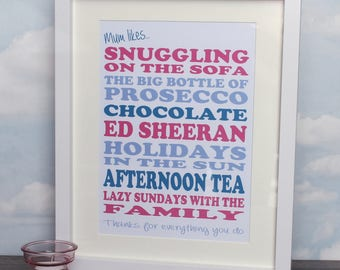Mum Likes - Personalised Mother's Day Framed Print