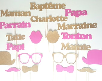 Lot photobooth baptism-kids personalized name-Godfather godmother - fuchsia and gold glitter