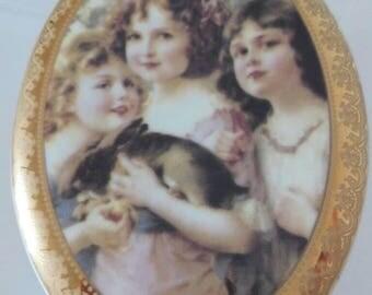 Nouveau antique Limoges porcelain plaque of the years 1980