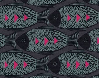 Fish Charcoal from Magic Forest by Sarah Watts for Cotton + Steel - 1/2 Yard