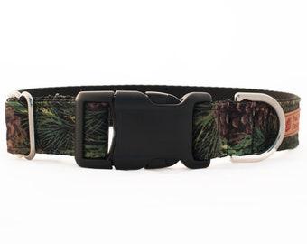 Forest Camo Dog Collar - Camping Dog Collar - Male Dog Collar for Boys - Nylon Webbing Dog Collar - Strong Dog Collar - Pinecone Dog Collar