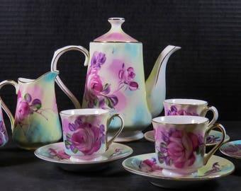Vintage Limoges China Tea Set Tea Pot Creamer Lidded Sugar 4 Tea Cups 4 Saucers