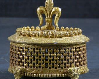 Vintage  Florenza Footed Filigree Box Jewelry Trinket Box Fluer De Lis Marked