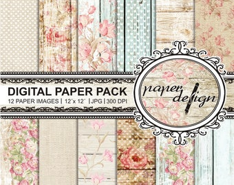 "35% off 4 days sale Shabby chic paper romantic ""Digital paper, roses"" Pack summer digital paper wood printable background Scrapbook Paper #05"