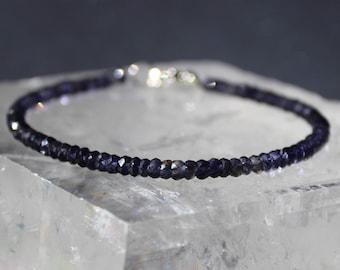 Iolite Bracelet, All Iolite Bracelet, All Natural Iolite Bracelet, Gemstone Bracelet, Beaded Bracelet, Dainty Bracelet
