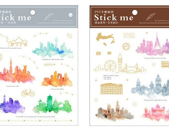 Watercolor Cityscape, 2 Sheet Sticker Set, Silhouette, City, Transparent Gold, Journal Stickers, Scrapbooking, Labels