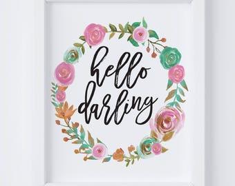 Hello Darling Digital Print | Nursery Wall Art | Floral Wall Art | Floral Wreath Nursery