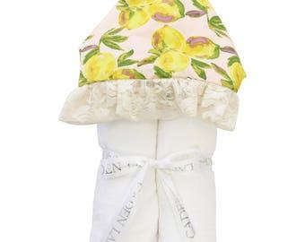 Lemon Hooded Towel | Full Size Toddler Hooded Towel | Lemons, Lace, and Pink | Baby Shower Gift | Girl Shower Gift
