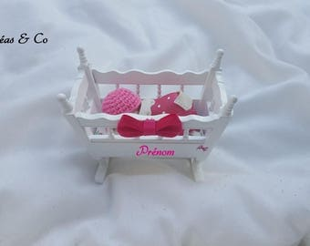 Wooden with polymer clay baby cradle