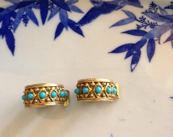 Early Mid-Century Designer Clip-On Statement Earrings Middle Eastern Design Faux Persian Turquoise Gold Tone Clip Back Marked Pat Pending