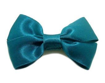 Teal Satin ribbon bow brooch.
