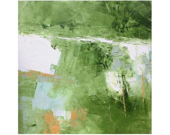 small abstract mid century modern oil painting Atomic Ranch contemporary 12 x 12 square art Dallas artist Paul Ashby MCM