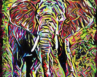 Elephant Art, Jungle Painting, Wildlife Art Print