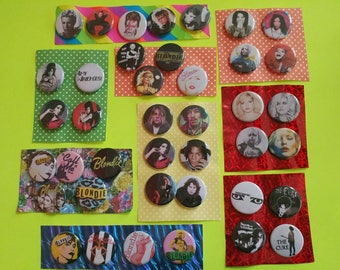 PINBACK BUTTON SETS! David Bowie Bjork Blondie Debbie Harry Amy Winehouse 27 club the Cure Siouxsie & the Banshees Aladdin Sane Joplin goth