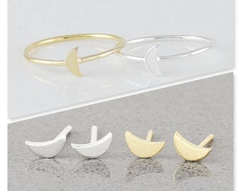 Mini Crescent Moon Ring, Stacking Ring, Moon Ring, Customized Initial Ring, Sterling Silver and Gold Fill Ring ( HCR CMR )