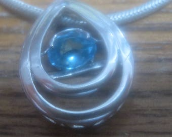 Sterling Silver Necklace with Blue stone