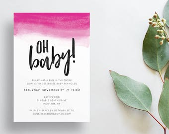 Oh Baby Shower Invites / Bright Pink Watercolor Ombre / Hand Lettering / Semi-Custom Modern Baby Shower Invites / Print-at-Home Invitations