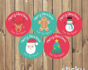 Personalized Christmas Stickers, Christmas Stickers, Christmas Labels, Xmas Stickers, Xmas Labels, Holiday Stickers, Gift Labels, Gift Tags