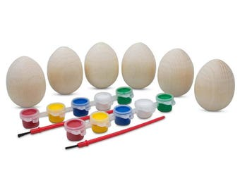 """2.5"""" Set of 6 Unfinished Blank Unpainted Wooden Easter Eggs"""