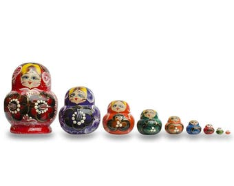 "4.75"" Set of 9 Rainbow Russian Nesting Dolls Matryoshka"