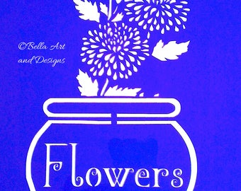Assorted Flowers in Flowerpot stencils  (Price is per photo/design) *Free gift with every order*