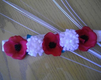 baby headband and bi-material girl red and white