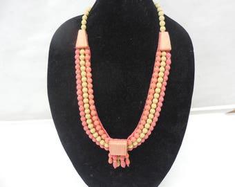 Unique Vintage Fabric Bead Statement Necklace