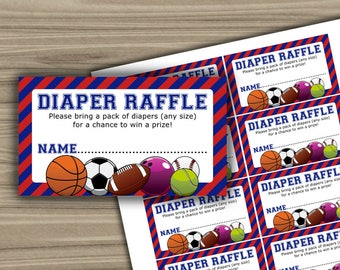 Sports - Baby Shower - Diaper Raffle - Tickets - PRINTABLE - INSTANT DOWNLOAD - Sports Theme Baby Shower - 062