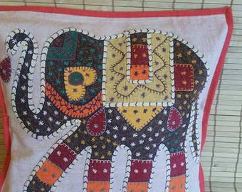 Elephant print cushion covers, ethnic pillow, decorative pillow, boho bedroom decor, Bohemian decoration, Stone wash cotton, Patch work