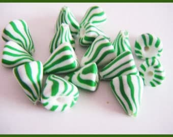 ♥ 16 charms berlingots ♥ polymer clay Fimo beads