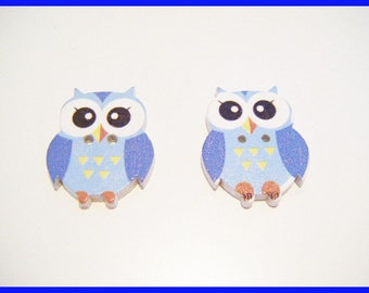2 buttons wooden OWL - blue ♥ ♥