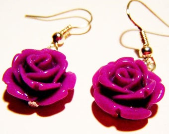 Purple resin Flower Earrings