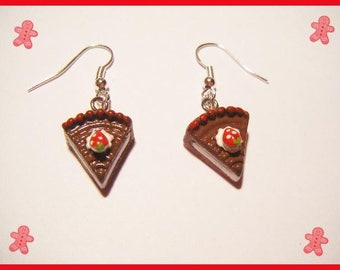 Earrings ♥ ♥ chocolate Strawberry cake