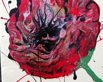 Poppies #1 on 2 canvases Fluid Art acrylic painting on 2 8x10 canvases
